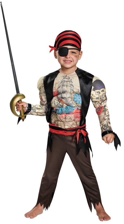 Pirate Toddler Muscle Costume, Medium (3T-4T)