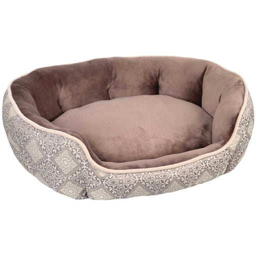 "Wild Olive 28"" x 23"" x 8"" Portugal Oval Pet Bed, Medium, Brown/Metallic Taupe"