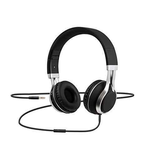 CYLO Electrolyte Headphones Over Ear Wired, Noise Isolating with 40mm Drivers, In-Line Microphone with Supreme and Hi-Fi Stereo Sound (Matte Black/Silver)