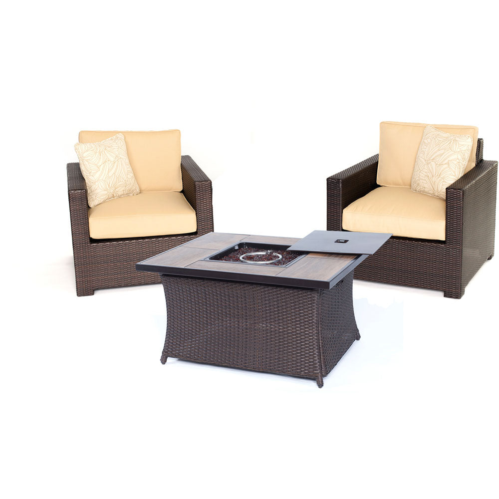 Hanover MET3PCFP-TAN-A Metropolitan 3 Piece Chat Set with LP Gas Fire Pit Table, Sahara Sand Outdoor Furniture