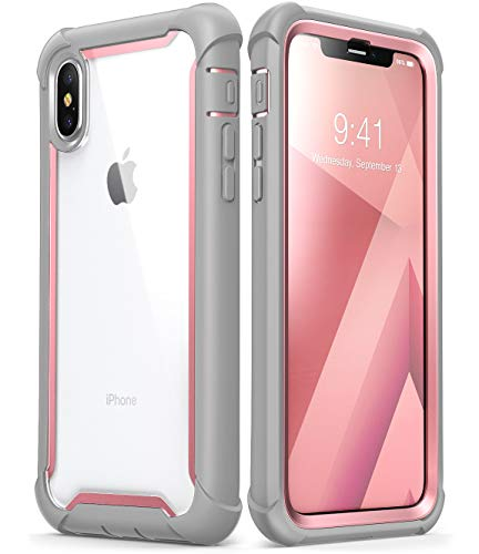 iPhone Xs Max Case, i-Blason [Ares] Full-Body Rugged Clear Bumper Case with Built-in Screen Protector for iPhone Xs Max 6.5 Inch (2018 Release) (Pink)