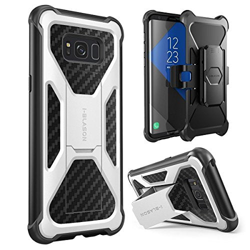 i-Blason Galaxy S8 Plus Case, Transformer [Kickstand] Samsung Galaxy S8 Plus 2017 Release [Heavy Duty] [Dual Layer] Combo Holster Cover case with [Locking Belt Swivel Clip] (White)