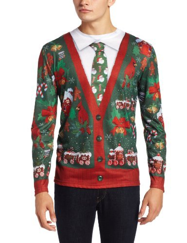 Faux Real Men's Ugly Cardigan with Tie, Multi, Small