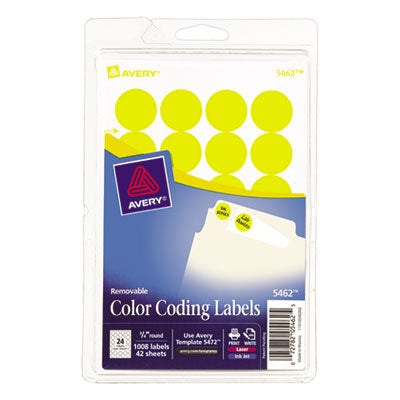 Avery® Print or Write Removable Color-Coding Labels LABEL,.75RND,1008/PK,YEL 11807RNN (Pack of20)