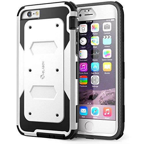 iPhone 6 Case, i-Blason Apple iPhone 6 Case 4.7 inch Armorbox Dual Layer Hybrid Full-body Protective Case with Front Cover and Built-in Screen Protector/Impact Resistant Bumpers for iPhone 6 (White)