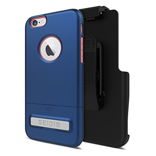 Seidio SURFACE with Metal Kickstand Case & Belt-Clip Holster for iPhone 6/6S - Non-Retail Packaging - Royal Blue/Pink