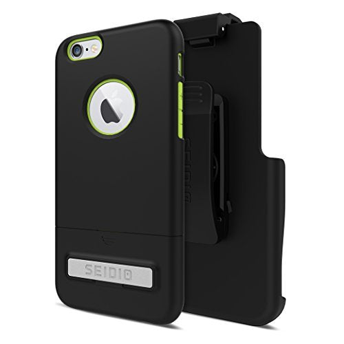 Seidio SURFACE with Metal Kickstand Case & Belt-Clip Holster for iPhone 6/6S - Non-Retail Packaging - Black/Green