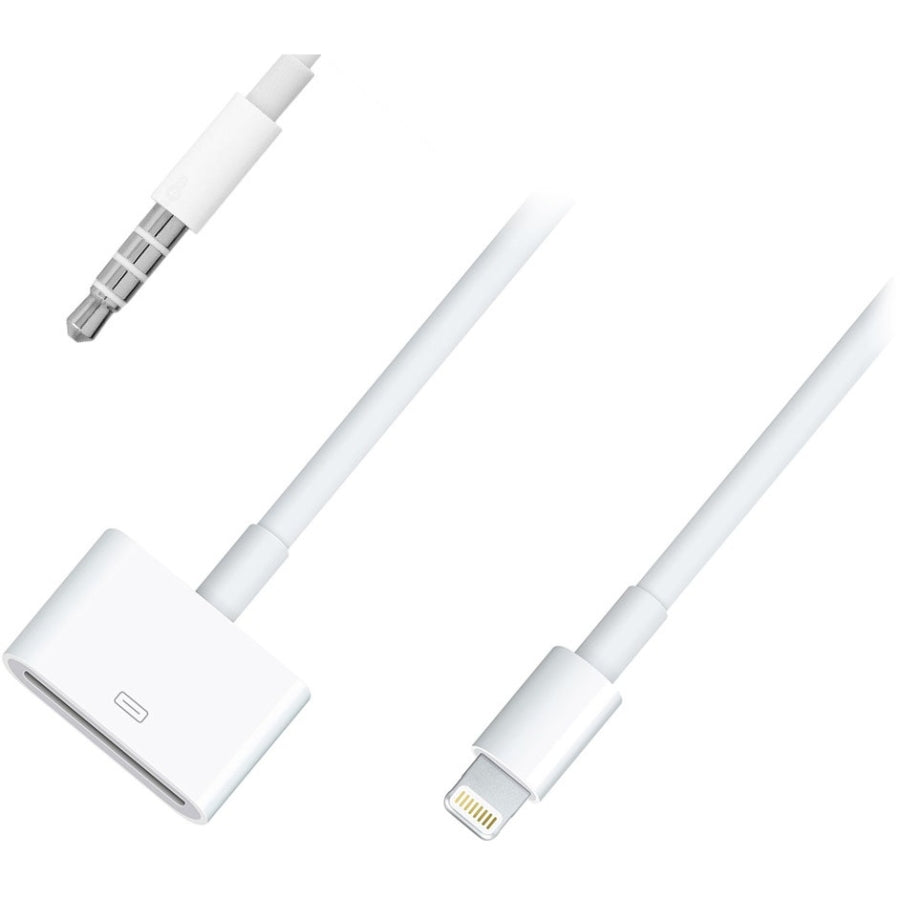 4XEM 30 Pin to 8 Pin Audio Adapter - Apple Dock Connector/Lightning/Mini-phone for iPhone, iPod, iPad - 1 x Apple Dock Connector Female Proprietary Connector - 1 x Lightning Male Proprietary Connector, 1 x Mini-phone Male Audio - White