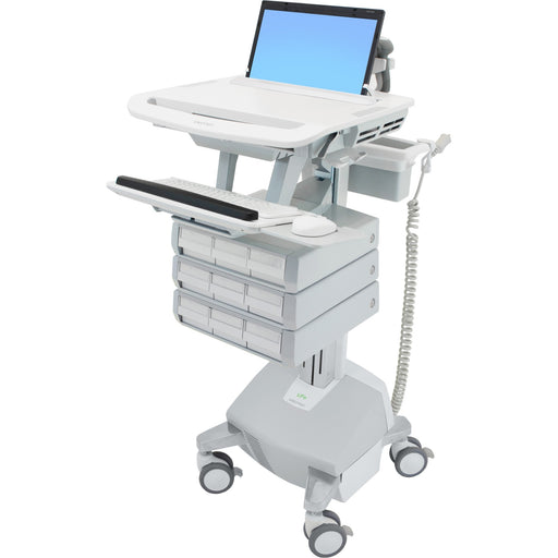 Ergotron StyleView Laptop Cart, LiFe Powered, 9 Drawers - Up to 17.3 Screen Support - 20 lb Load Capacity - 50.5 Height x 18.3 Width x 30.8 Depth - Floor Stand - Aluminum - White, Gray