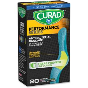 Curad Performance Series Antibacterial Adhesive Bandages, 1 X 3.25 Inch, 20 count