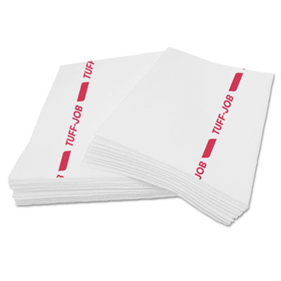 Busboy Guard Antimicrobial Towels, White/Red, 12 x 21, 1/4 Fold, 150/C
