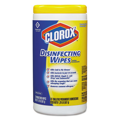 Clorox Disinfecting Wipes, Lemon Fresh, Tub of 75 Wipes (Pack of 3 Tubs)