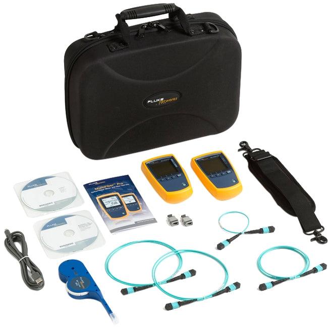 Fluke Networks MFTK1200 MultiFiber Pro Testing Base Kit, Includes MultiFiber Pro Power Meter, 850 Light Source, Test Cords, MPO adapters, and Case, Fiber Tester Accessory