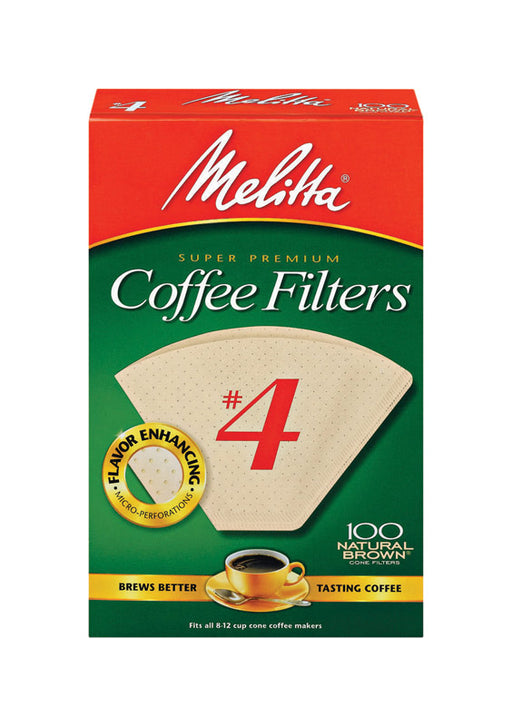 Melitta 624602 #4 8 To 12 Cup Natural Brown Cone Coffee Filters 100 Count