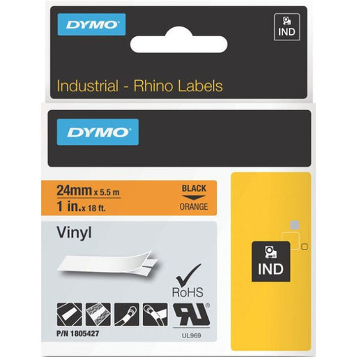 Dymo Black on Orange Color Coded Label - Permanent Adhesive - 1 Width x 18.04 ft Length - Thermal Transfer - Orange - Vinyl