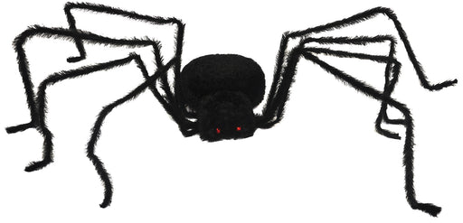 "Giant 104"" Lightup Long Hair Black Spider Halloween Decor"