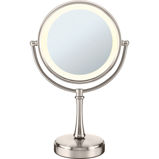 Conair Round Shaped 3-Way Touch Control Double-Sided Lighted Makeup Mirror; 1x/8x magnification; Satin Nickel Finish