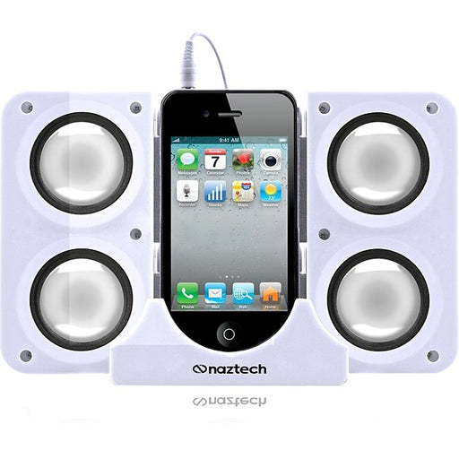 Naztech N40-11917 Portable Speaker System Dock for iPhone/BlackBerry/HTC/Samsung - Retail Packaging - White