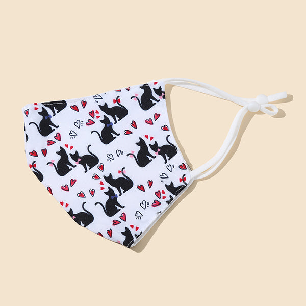 FM221 breathable comfortable adjustable reusable cat pattern face mask