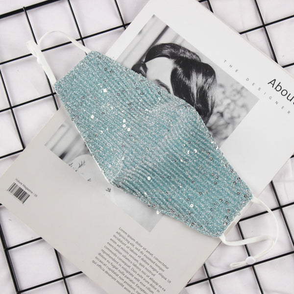 FM122 breathable comfortable adjustable reusable sparkly sequin palette face mask