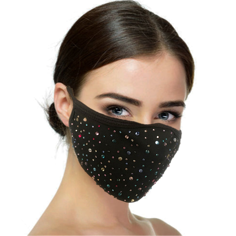 FM101 breathable comfortable adjustable reusable sparkly sequin diamante face mask