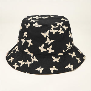 CK50002 Bucket hat in cotton twill butterfly pattern black