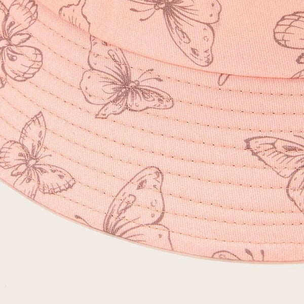 CK50003 Bucket hat in cotton twill butterfly pattern pink
