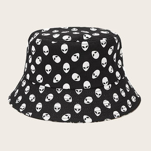 CK50006 Bucket hat in cotton twill skull pattern black