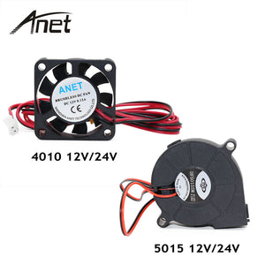 Anet A6 A8 DC Cooling Fan 5015 Turbo Fan 4010 12V/24V Hot End Extruder