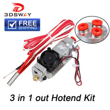 3D Printer Parts 3-in-1-out Multi-Color Extruder Hotend Kit 0.4mm 1.75mm