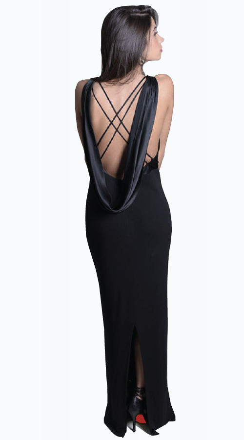 BARONESS DRAPED BACK GOWN