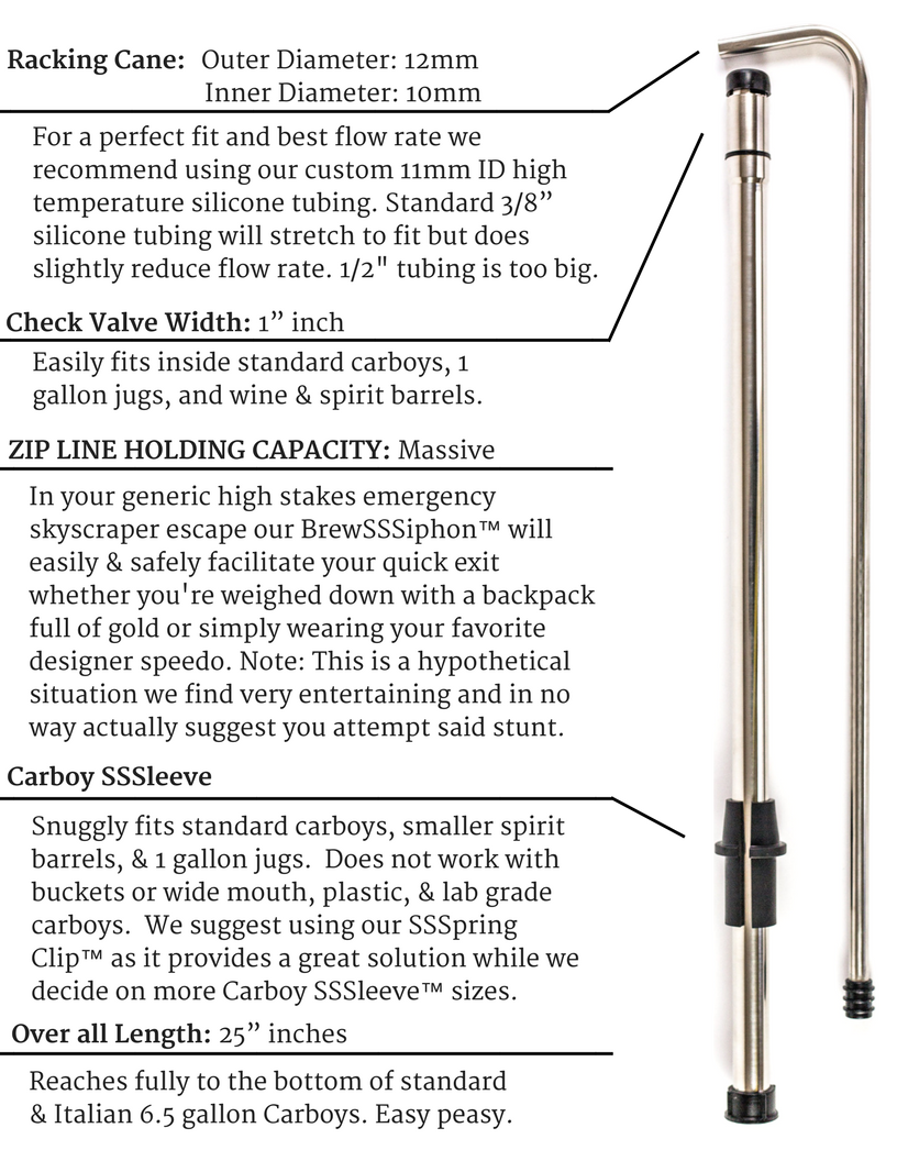 Spec sheet for Brewsiphon and Carboy SSSLeeve and SSSpring Clip