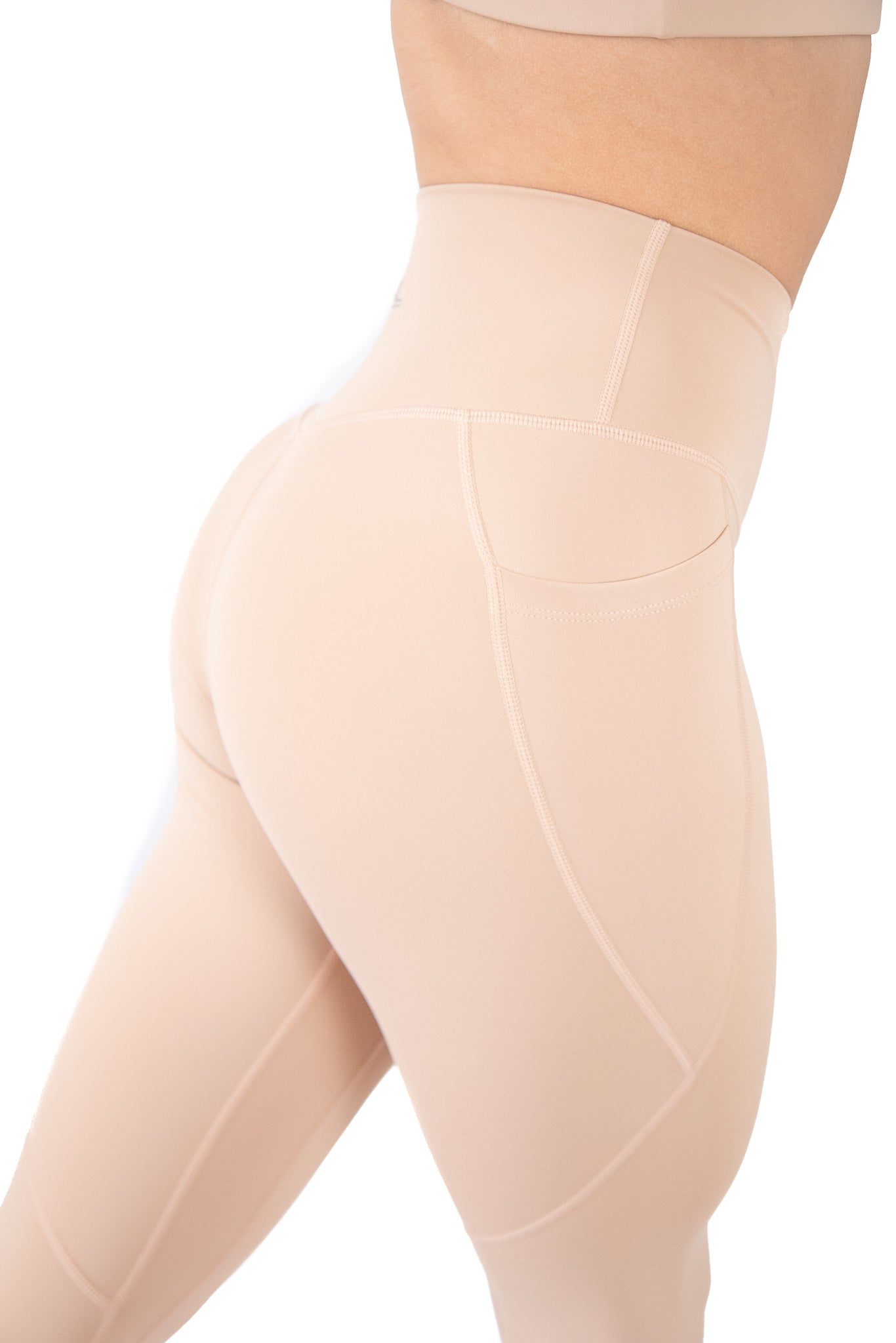 High Waisted Pocket Leggings Athletic Squat Proof Nude