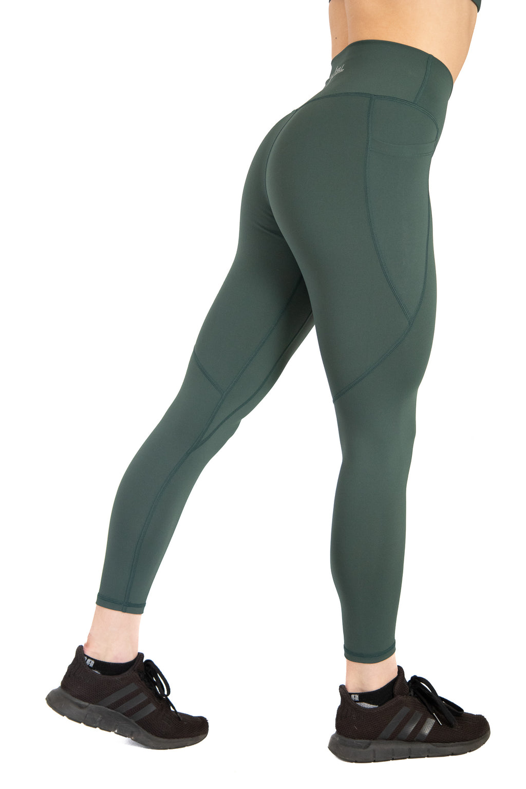High Waisted Pocket Leggings Athletic Squat Proof Forest Green