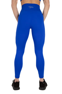 High Waisted Pocket Leggings Athletic Squat Proof Royal Blue