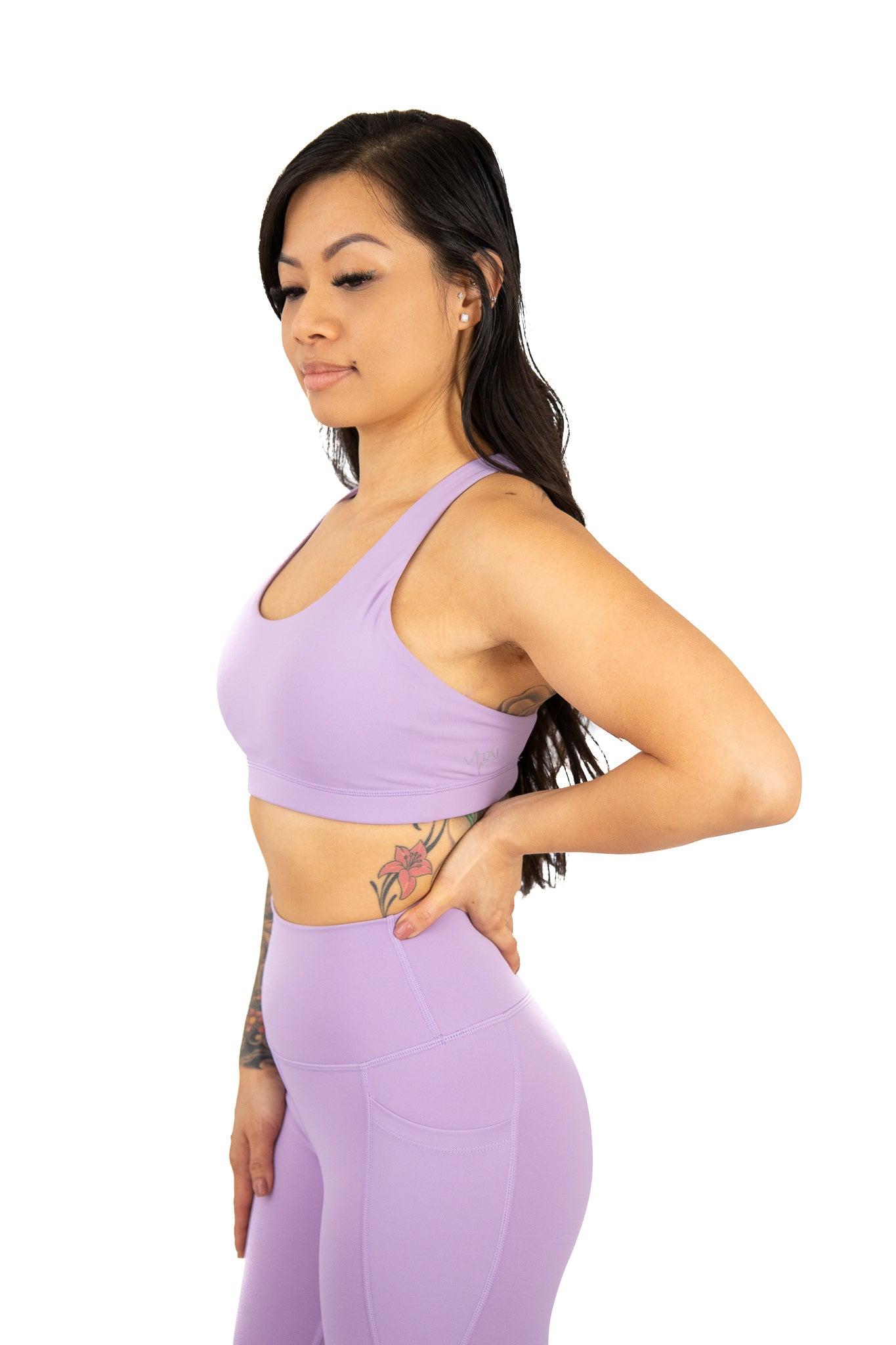 Medium Support Cross Strap Sports Bra Lilac Purple
