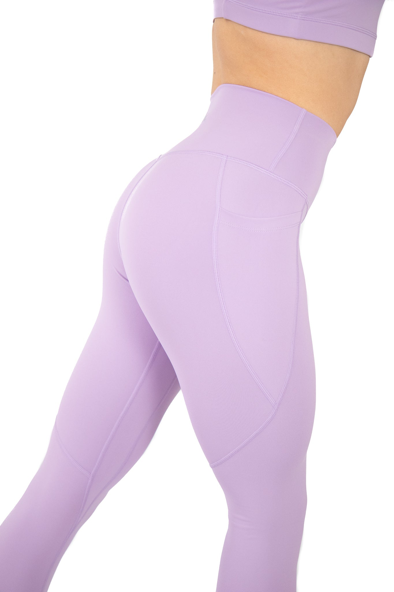 High Waisted Pocket Leggings Athletic Squat Proof Lilac Purple