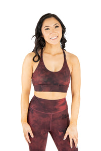 Medium Support Cross Strap Sports Bra Red Marble