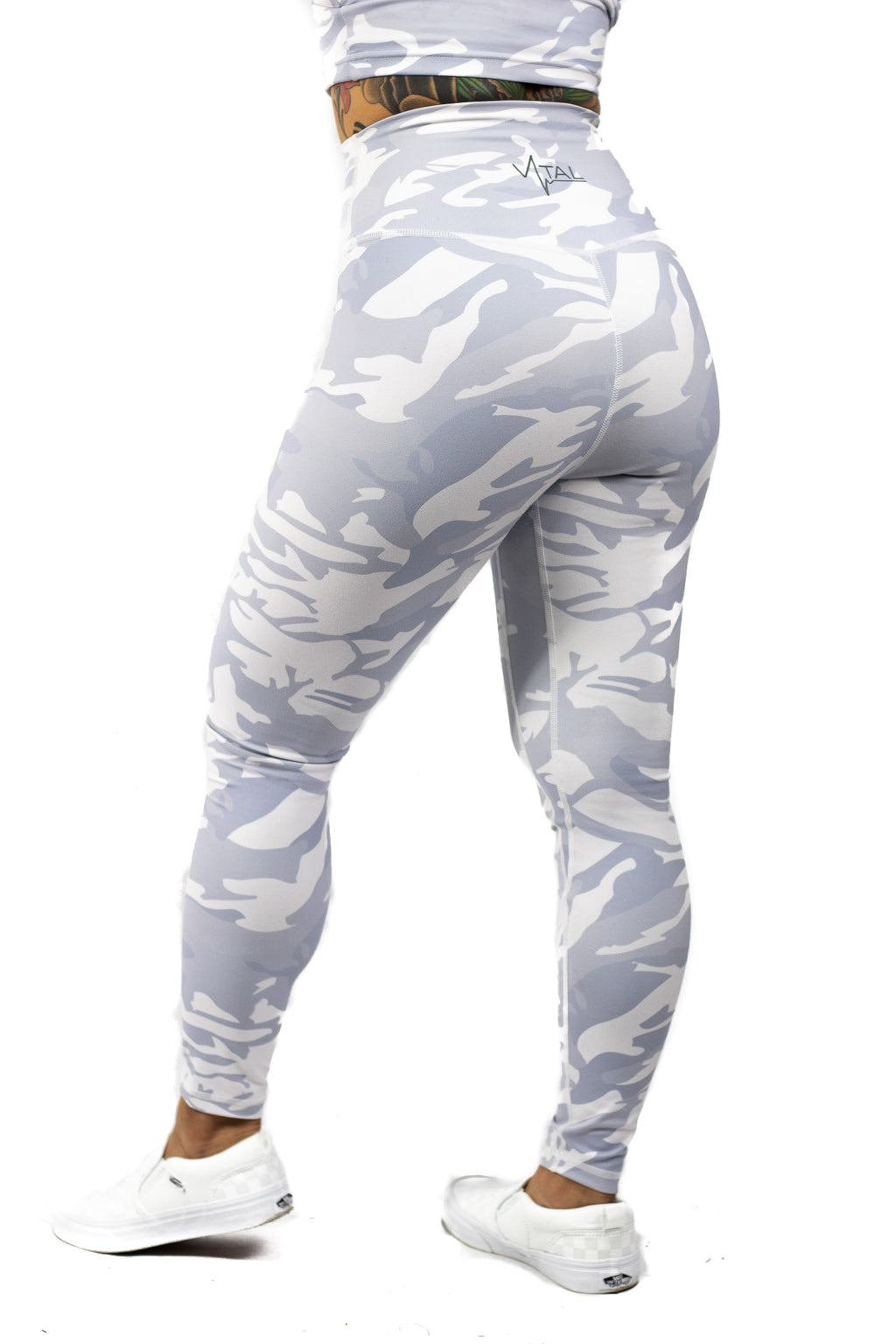 Plush V2 Combat High Waisted Workout White Camo Leggings Women