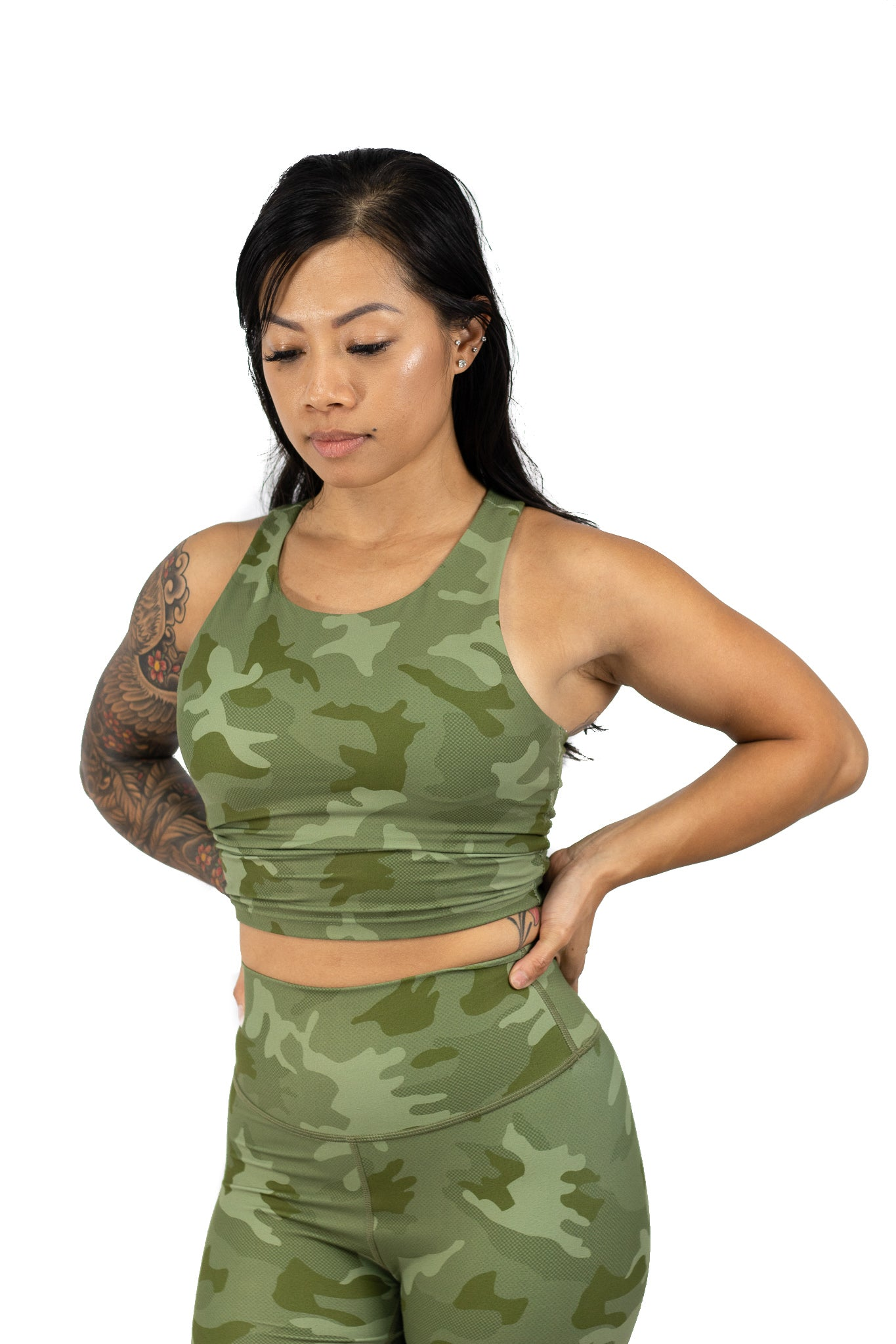 Green camo sports bra crop top