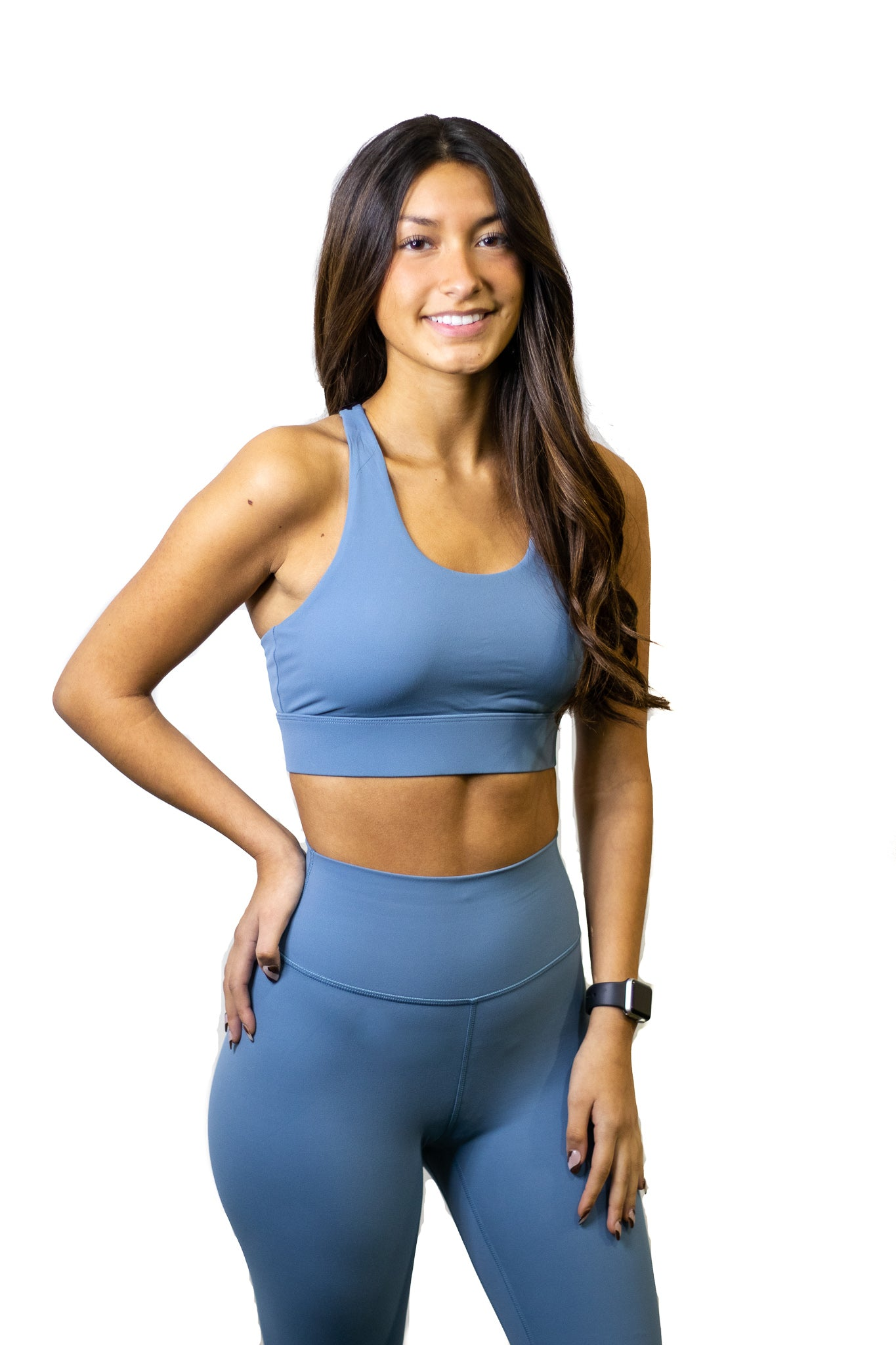 Ocean blue high support strappy sports bra for working out, yoga, and crossfit!