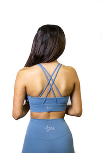 Ocean blue high support strappy sports bra for working out, yoga, and cross fit!