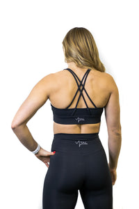 Black high support strappy sports bra for working out, yoga, and cross fit!
