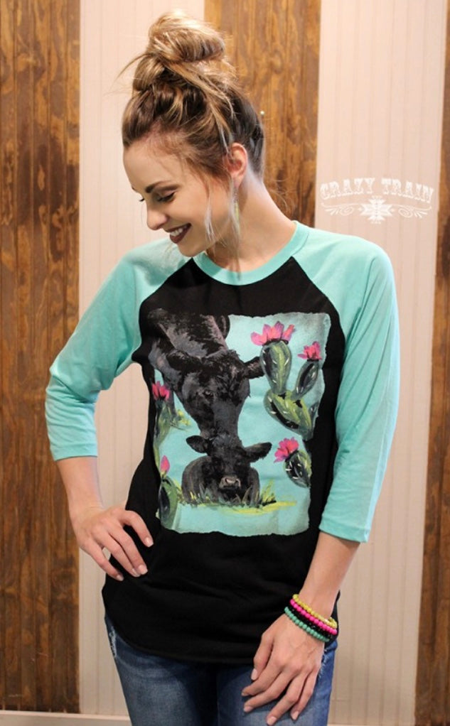 Momma Moo Cow Baseball Tee