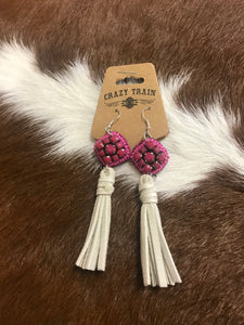 Candy Fringe-Cream/Pink Earrings