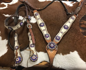 Purple Swarovski Crystal and Cowhide Tack Set