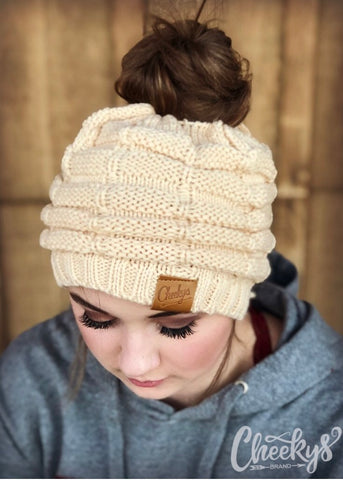 Messy Bun Cable Knit Beanie