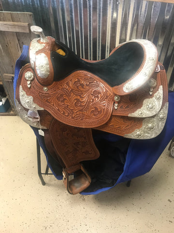 "17"" Dale Chavez Custom Silver Western Pleasure Show Saddle"