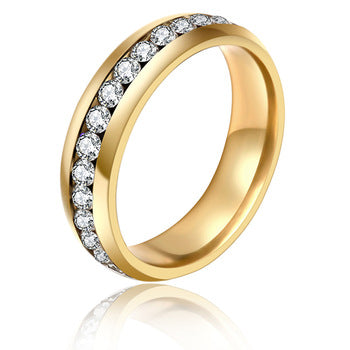 Top Quality Gold Concise Classical Crystal Wedding Ring Supermall