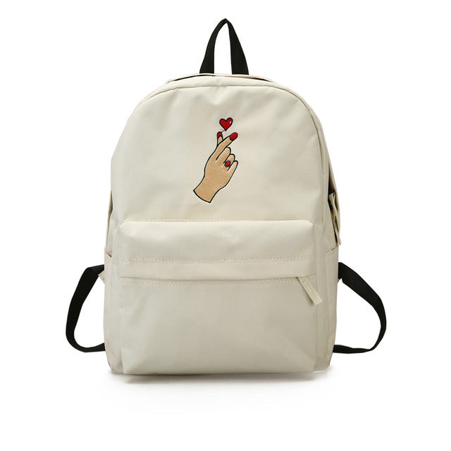 Men Heart Canvas Backpack Cute Women Rose Embroidery Backpacks